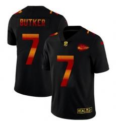 Kansas City Chiefs 7 Harrison Butker Men Black Nike Red Orange Stripe Vapor Limited NFL Jersey