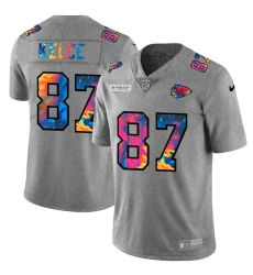 Kansas City Chiefs 87 Travis Kelce Men Nike Multi Color 2020 NFL Crucial Catch NFL Jersey Greyheather