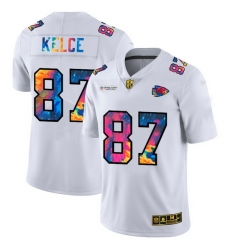 Kansas City Chiefs 87 Travis Kelce Men White Nike Multi Color 2020 NFL Crucial Catch Limited NFL Jersey