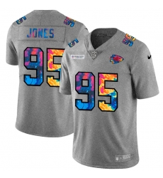 Kansas City Chiefs 95 Chris Jones Men Nike Multi Color 2020 NFL Crucial Catch NFL Jersey Greyheather