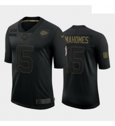 Men Kansas City Chiefs 15 Patrick Mahomes Black Camo 2020 Salute To Service Limited Jersey
