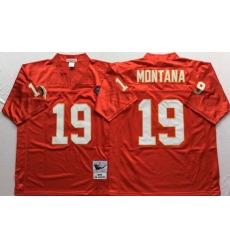 Men Kansas City Chiefs 19 Joe Montana Red M&N Throwback Jersey