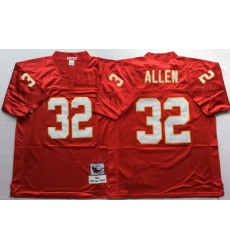 Men Kansas City Chiefs 32 Marcus Allen Red M&N Throwback Jersey