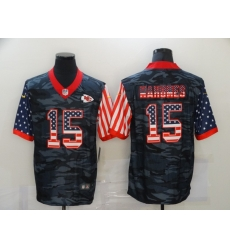 Nike Kansas City Chiefs 15 Patrick Mahomes Black Camo USA Flag Limited Jersey