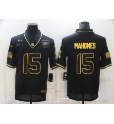 Nike Kansas City Chiefs 15 Patrick Mahomes Black Gold 2020 Salute To Service Limited Jersey