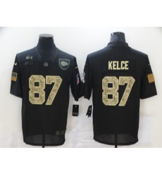 Nike Kansas City Chiefs 87 Travis Kelce Black Camo 2020 Salute To Service Limited Jersey