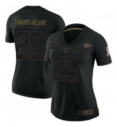 Women Kansas City Chiefs 25 Clyde Edwards-Helaire 2020 Black Salute To Service Limited Jersey
