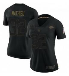 Women Kansas City Chiefs 32 Tyrann Mathieu Black Camo 2020 Salute To Service Limited Jersey