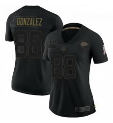 Women Kansas City Chiefs 88 Tony Gonzalez Black 2020 Salute To Service Limited Jersey