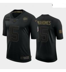 Youth Kansas City Chiefs 15 Patrick Mahomes Black Camo 2020 Salute To Service Limited Jersey