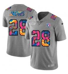 Las Vegas Raiders 28 Josh Jacobs Men Nike Multi Color 2020 NFL Crucial Catch NFL Jersey Greyheather