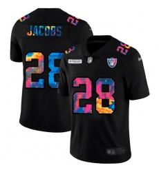 Las Vegas Raiders 28 Josh Jacobs Men Nike Multi Color Black 2020 NFL Crucial Catch Vapor Untouchable Limited Jersey