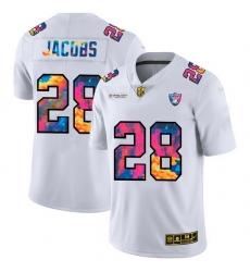 Las Vegas Raiders 28 Josh Jacobs Men White Nike Multi Color 2020 NFL Crucial Catch Limited NFL Jersey