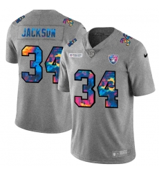 Las Vegas Raiders 34 Bo Jackson Men Nike Multi Color 2020 NFL Crucial Catch NFL Jersey Greyheather