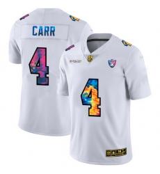 Las Vegas Raiders 4 Derek Carr Men White Nike Multi Color 2020 NFL Crucial Catch Limited NFL Jersey