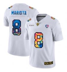 Las Vegas Raiders 8 Marcus Mariota Men White Nike Multi Color 2020 NFL Crucial Catch Limited NFL Jersey