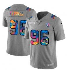 Las Vegas Raiders 96 Clelin Ferrell Men Nike Multi Color 2020 NFL Crucial Catch NFL Jersey Greyheather