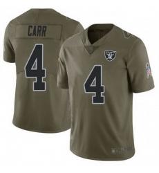 Men Las Vegas Raiders 4 Derek Carr 2017 Green Salute To Service Limited Jersey