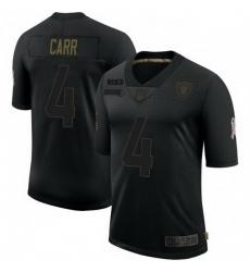 Men Las Vegas Raiders 4 Derek Carr Black 2020 Salute To Service Limited Jersey