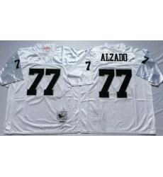 Men Las Vegas Raiders 77 Lyle Alzado White M&N Throwback Jersey