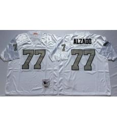 Men Las Vegas Raiders 77 Lyle Alzado White Silver M&N Throwback Jersey