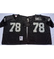 Men Las Vegas Raiders 78 Art Shell Black M&N Throwback Jersey