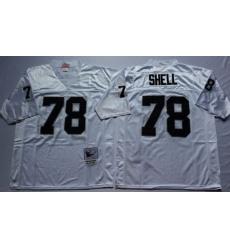 Men Las Vegas Raiders 78 Art Shell White M&N Throwback Jersey