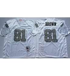 Mitchell And Ness Raiders #81 tim brown White Throwback Stitched NFL Jerseys