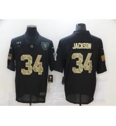 Nike Las Vegas Raiders 34 Bo Jackson Black Camo 2020 Salute To Service Limited Jersey