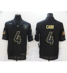 Nike Las Vegas Raiders 4 Derek Carr Black 2020 Salute To Service Limited Jersey