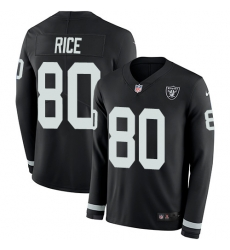 Nike Raiders #80 Jerry Rice Black Team Color Men Stitched NFL Limited Therma Long Sleeve Jersey