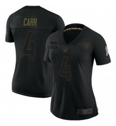 Women Las Vegas Raiders 4 Derek Carr Black 2020 Salute To Service Limited Jersey