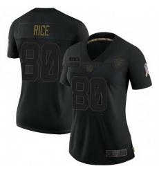 Women Las Vegas Raiders 80 Jerry Rice Black 2020 Salute To Service Limited Jersey