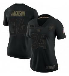 Women Las Vegas Raiders Bo Jackson Black 2020 Salute To Service Jersey