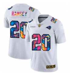 Los Angeles Rams 20 Jalen Los Angeles Ramsey Men White Nike Multi Color 2020 NFL Crucial Catch Limited NFL Jersey