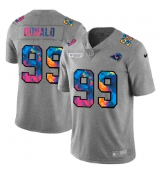 Los Angeles Rams 99 Aaron Donald Men Nike Multi Color 2020 NFL Crucial Catch NFL Jersey Greyheather