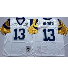 Men Los Angeles Rams 13 Kurt Warner White M&N Throwback Jersey