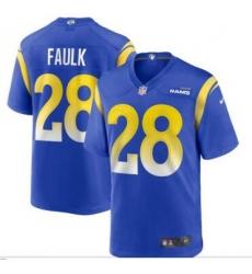 Men Los Angeles Rams 28 Marshall Faulk Blue Yellow Vapor Limited Jersey