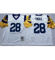Men Los Angeles Rams 28 Marshall Faulk White M&N Throwback Jersey