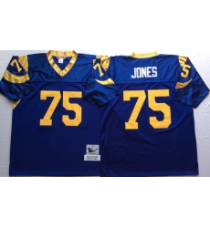 Men Los Angeles Rams 75 Deacon Jones Blue M&N Throwback Jersey