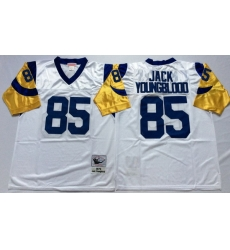 Men Los Angeles Rams 85 Jack Youngblood White M&N Throwback Jersey