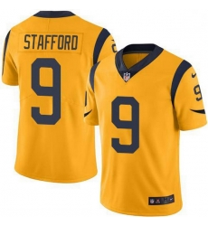 Men Los Angeles Rams 9 Matthew Stafford Gold Men Stitched NFL Limited Rush Jersey