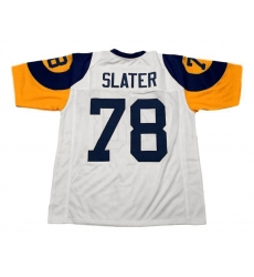 Men Nike Los Angeles Rams Jackie Slater CUSTOM STITCHED Unsigned Football Jersey White