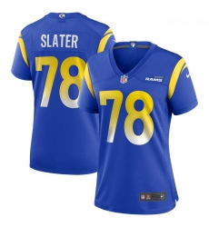 Women Nike Jackie Slater Royal Los Angeles Rams Game Retired Player Jersey
