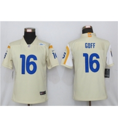 Women Nike Los Angeles Rams 16 Jared Goff Bone 2020 New Vapor Untouchable Limited Jersey