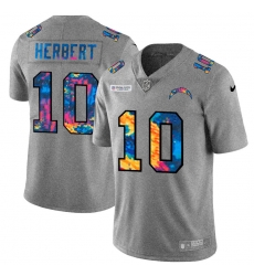 Los Angeles Chargers 10 Justin Herbert Men Nike Multi Color 2020 NFL Crucial Catch NFL Jersey Greyheather