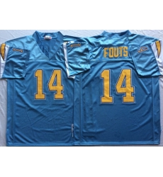 Men Los Angeles Chargers 14 Dan Fouts Light Blue M&N Throwback Jersey