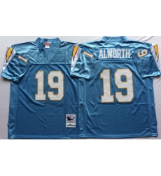 Men Los Angeles Chargers 19 Lance Alworth Light Blue M&N Throwback Jersey