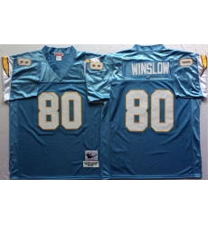 Men Los Angeles Chargers 80 Kellen Winslow Light Blue M&N Throwback Jersey