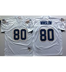 Men Los Angeles Chargers 80 Kellen Winslow White M&N Throwback Jersey